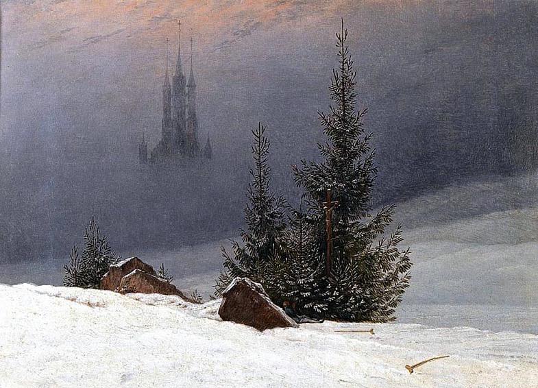 К д фридрих зимний пейзаж с церковью